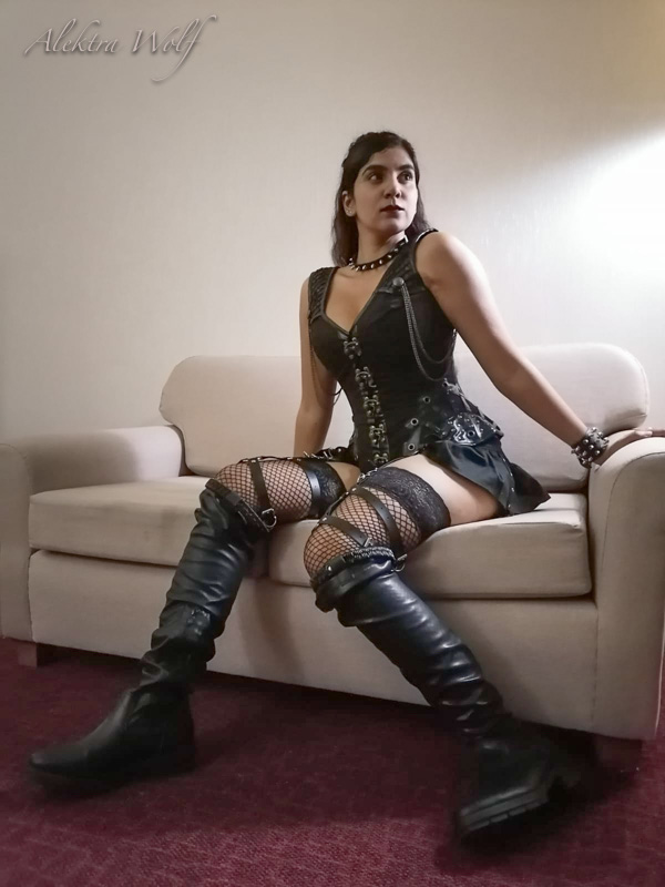 long black boots and corset